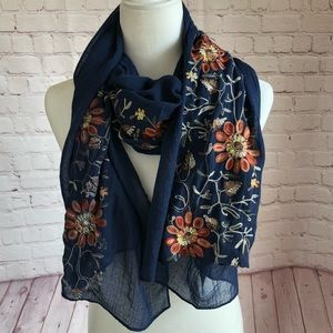 Navy blue lightweight floral embroidered scarf